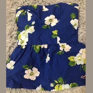 Hollister Women's Strapless Peplum Top Blue/Wh/